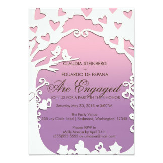 Pássaros do amor para sempre no roxo Pastel Convite 12.7 X 17.78cm