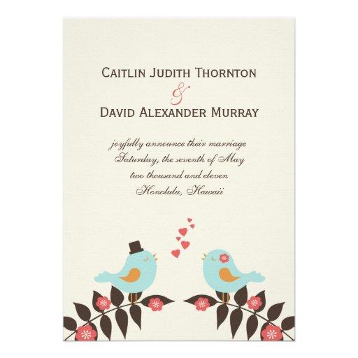 Pássaros do amor que Wedding o anúncio Convites Personalizado