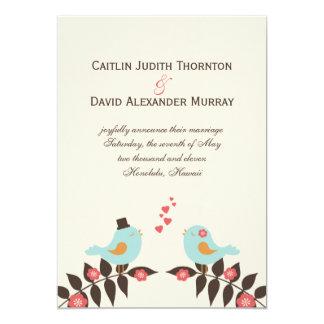 Pássaros do amor que Wedding o anúncio Convite 12.7 X 17.78cm