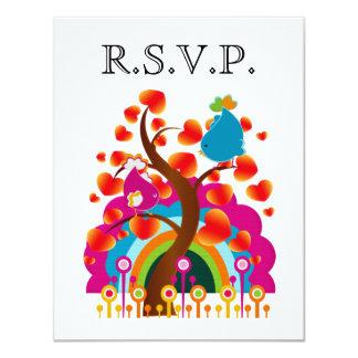 Pássaros do amor que Wedding o cartão de RSVP Convite 10.79 X 13.97cm