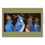 Pássaros do azul no cartão alaranjado da noite do