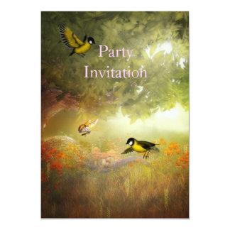 Pássaros do convite nas madeiras convite 12.7 x 17.78cm
