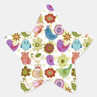 passaros do de flores e do divertido do padrão adesito estrela
