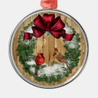 Pássaros do Natal Ornamento Redondo Cor Prata