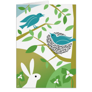 Pássaros do primavera & cartão felizes do coelho