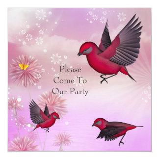 Pássaros do rosa do partido do convite em