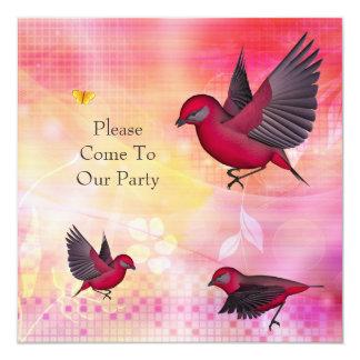 Pássaros do rosa do partido do convite no rosa