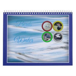 Pássaros e calendário (de tamanho médio) da água