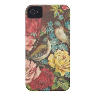 Pássaros e flores do vintage capas para iPhone 4 Case-Mate