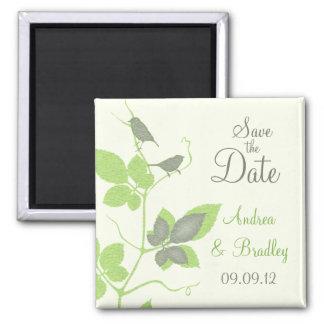 Pássaros e folhas que Wedding a imã salve a data