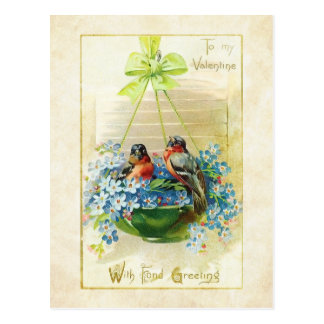 Pássaros e miosótis do amor dos namorados do vinta cartões postais