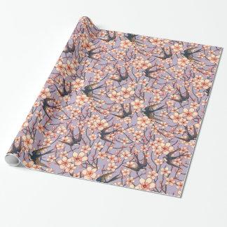 Pássaros e papel de embrulho floral bonito das
