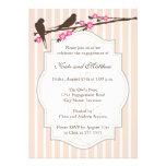 Pássaros em convites da festa de noivado de Sakura