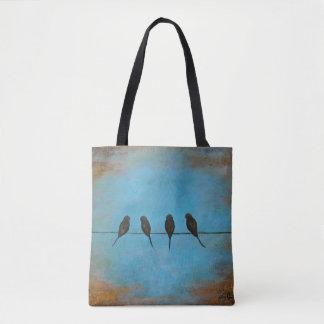 Pássaros em um fio rústico, saco de bolsa de