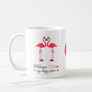 Pássaros felizes Famingos cor-de-rosa do amor do Caneca De Café