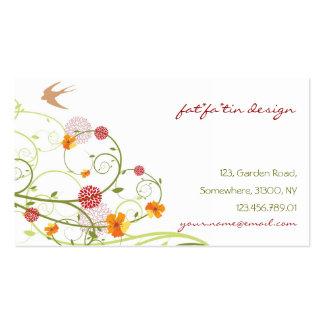 Pássaros florais chiques das andorinhas dos modelo cartões de visitas