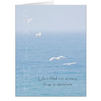 Pássaros inspirados da gratitude sobre o cartão do