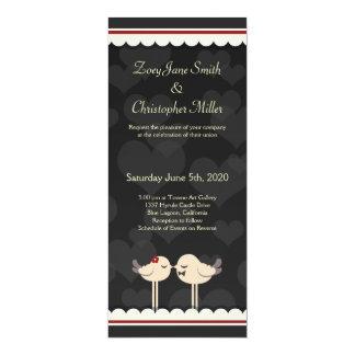 Pássaros Lacey retros do amor que Wedding o Convite Personalizado