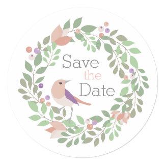 Pássaros & letras do amor redondos convite quadrado 13.35 x 13.35cm