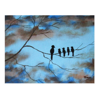 Pássaros na árvore na arte abstracta do dia das cartão postal