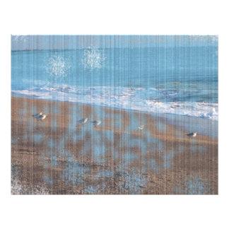 pássaros na imagem grunged praia da costa das panfletos personalizado