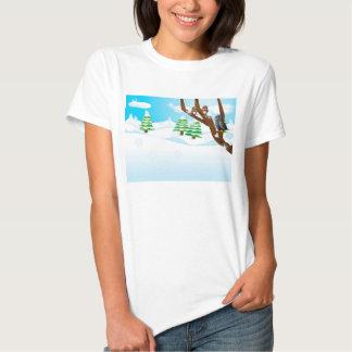 Pássaros no ramo tshirts