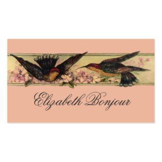 Pássaros que encontram flores do primavera dos car modelos cartões de visita