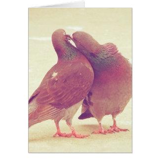 Pássaros retros do amor do pombo que beijam a foto cartão comemorativo