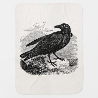 Pássaros retros dos corvos do gótico da silhueta manta para bebe