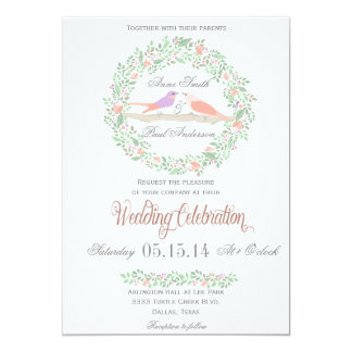 Pássaros rústicos do amor que wedding o convite