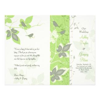 Pássaros verdes e videiras cinzentos que Wedding o Panfleto Personalizados