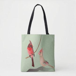 Pássaros vermelhos do inverno dos cardeais em bolsa tote