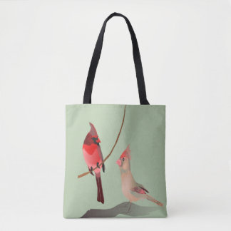 Pássaros vermelhos do inverno dos cardeais em bolsas tote