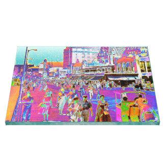 Passeio à beira mar Popart retro de Atlantic City Impressão Em Canvas