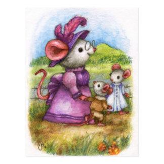Passeio com avó - cartão bonito da arte do rato