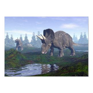 Passeio de dois dinossauros de convite 12.7 x 17.78cm