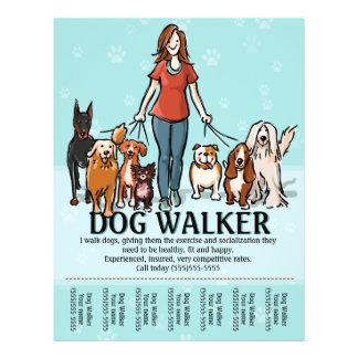 Passeio do cão. Caminhante do cão. Tearsheet Flyer 21.59 X 27.94cm
