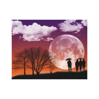 Passeio na frente do impressão das canvas da lua