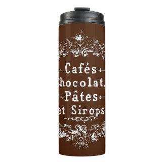 Pastas de Chocolat dos cafés do vintage e caneca