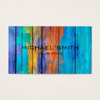 Pastel colorido na madeira #10 cartão de visitas