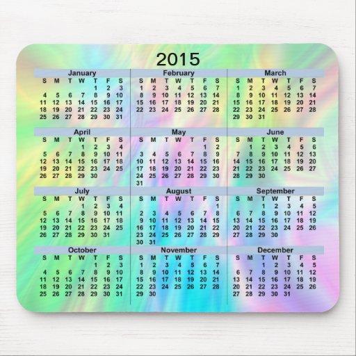 Pastel Mousepad de 2015 calendários