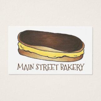 Pastelaria do Eclair de chocolate cozida pelo Cartão De Visitas