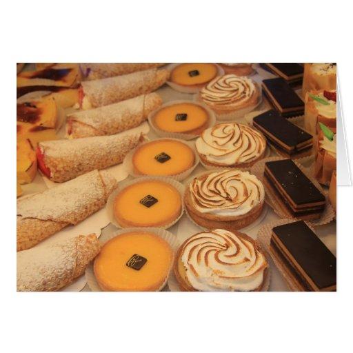 pastelaria em um cartão da loja