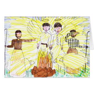 Pastores no cartão de Natal do campo