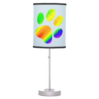Pata animal colorida arco-íris luminária