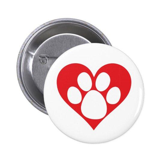 Pata do cão do coração bóton redondo 5.08cm