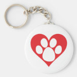 Pata do cão do coração chaveiro
