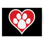 Pata do cão do coração (escura) cartoes