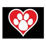 Pata do cão do coração (escura) cartoes postais