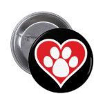 Pata do cão do coração (escura) pins